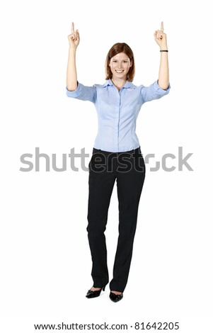 Young businesswoman isolated on a white background standing, smiling and pointing both hands up