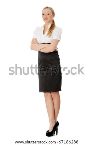 Young businesswoman isolated on white - stock photo