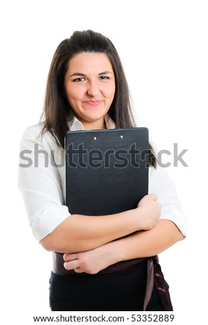 Young businesswoman. Isolated over white.