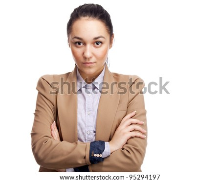 Young businesswoman. Isolated over white. - stock photo