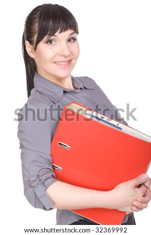 young businesswoman isolated over white background