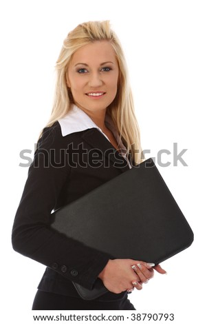 Young businesswoman on white background - stock photo