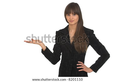 Young businesswoman on white background