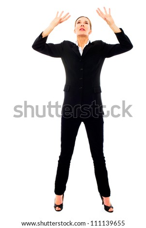 Young businesswoman oppressed on white background studio - stock photo