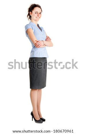 Young businesswoman portrait full length  - stock photo
