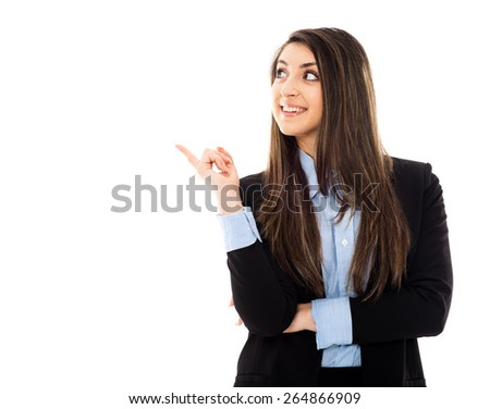 Young businesswoman presenting products with copyspace area, isolated on white - stock photo