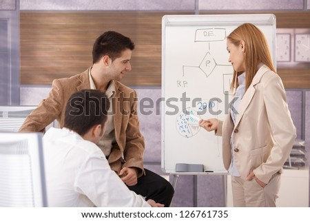 Young businesswoman presenting to team, using whiteboard. - stock photo