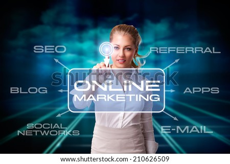young businesswoman pressing a virtual button to start a online marketing campaign - stock photo