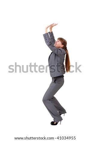 young businesswoman pushing something, isolated on a white background with copyspace