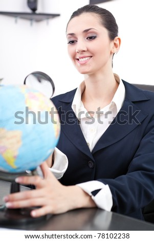 young businesswoman searching new job,  looking globe - stock photo