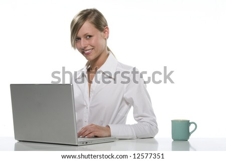 Young businesswoman, secretary or student with laptop, isolated - stock photo