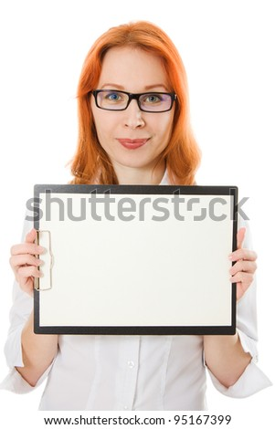 Young businesswoman showing blank signboard, on a white background.