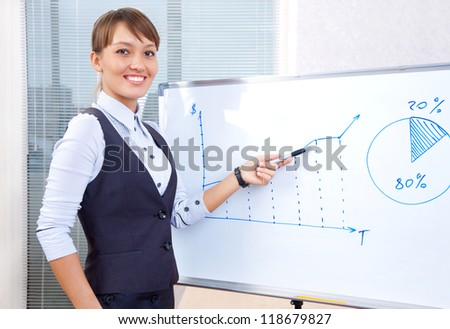 young businesswoman showing graph on chart in office