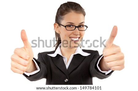 Young businesswoman showing two hands thumbs up - stock photo