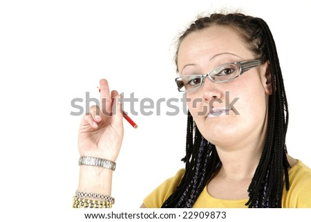 Young businesswoman shows on white background
