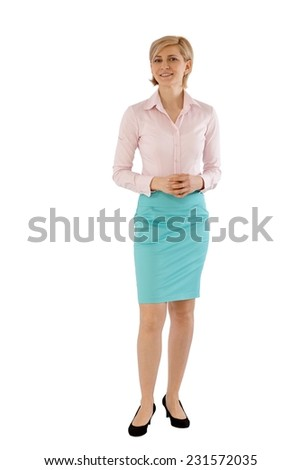 Young businesswoman smiling over white background. Full size. - stock photo