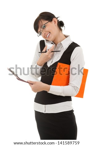 young businesswoman speaking on the phone, white background - stock photo