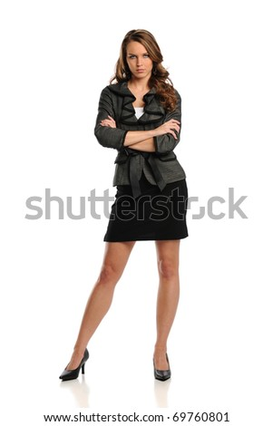 Young Businesswoman standing with arms crossed isolated on a white background