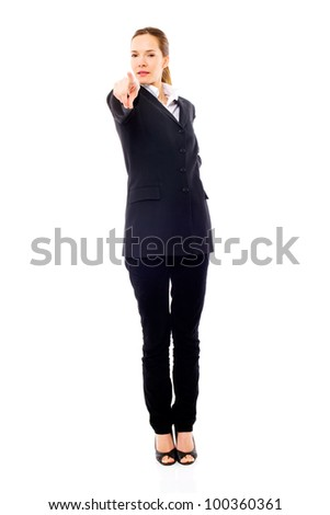 Young businesswoman standing with her hand indicating on white background - stock photo