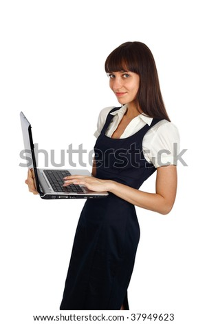young businesswoman standing with laptop studio shot on white - stock photo