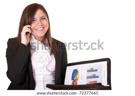 Young businesswoman standing with telephone - isolated on white - stock photo