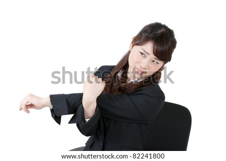 young businesswoman stretching, isolated on white background