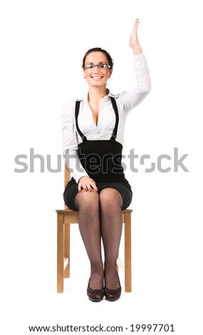 Young businesswoman stretching up hand. Isolated on white. - stock photo
