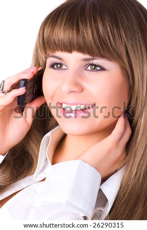 Young businesswoman talking on phone. Isolated on white. - stock photo