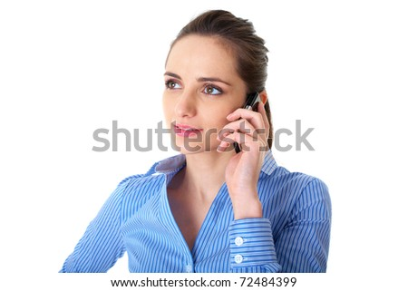 young businesswoman talks over her mobile phone, isolated on white background - stock photo