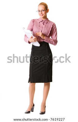 Young businesswoman, teacher or student, isolated on white - stock photo