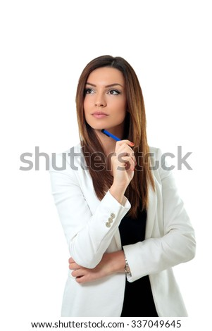 Young businesswoman thinking, isolated on white - stock photo