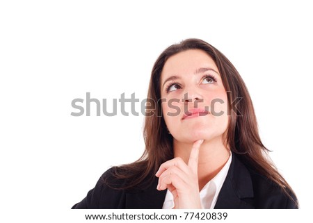 Young businesswoman thinking something. Isolated against white background. - stock photo
