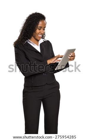 Young businesswoman use of digital tablet - Black girl in white background