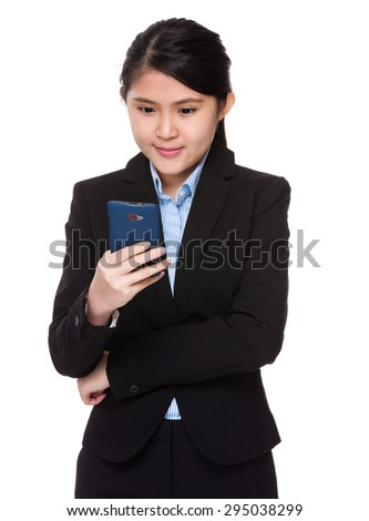 Young businesswoman use of the smart phone