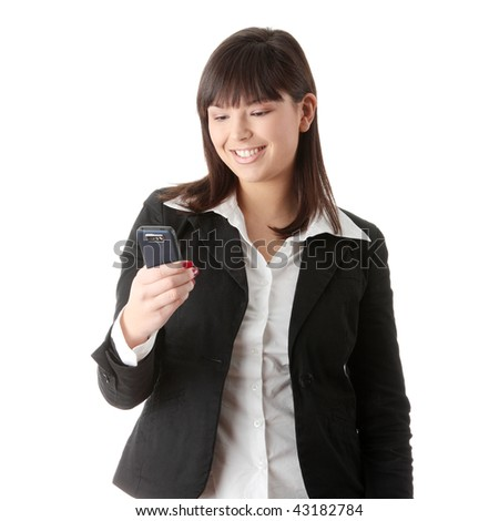 Young businesswoman using cell phone, isolated on white