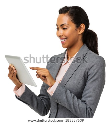 Young businesswoman using digital tablet over white background. Horizontal shot.