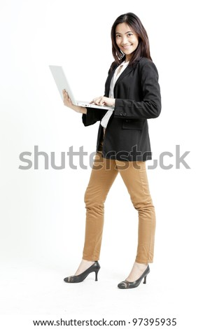 Young businesswoman using her laptop