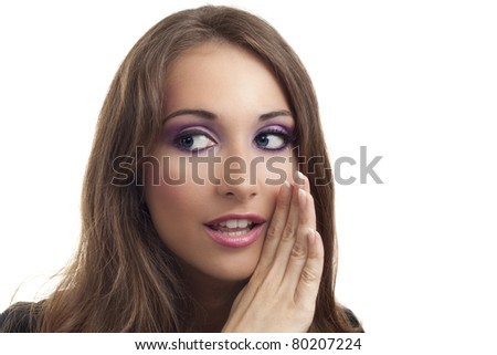 Young businesswoman whispering something to someone