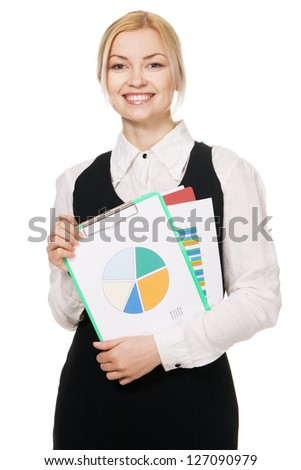 Young businesswoman with a bunch of documents, white background - stock photo
