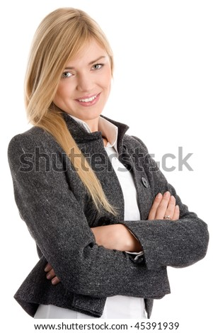 Young businesswoman with arms crossed isolated on white background - stock photo