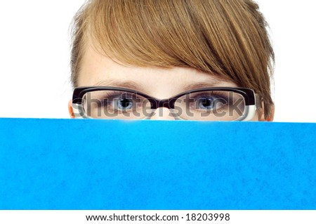 Young businesswoman with blue folder, isolated on white - stock photo