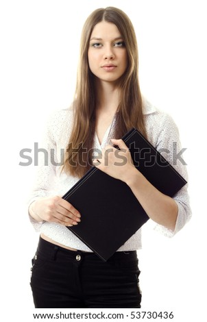 young businesswoman with book isolated - stock photo