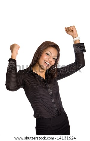 Young businesswoman with both arms up high, showing celebration and jubilation