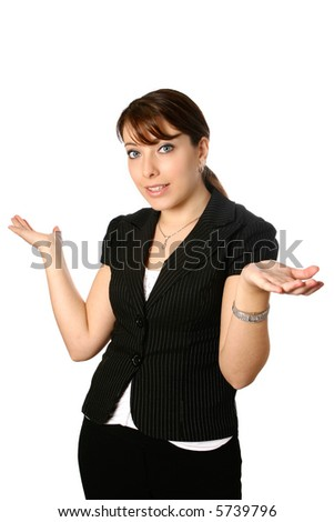 Young businesswoman with both palms facing upwards in gesture of asking. - stock photo