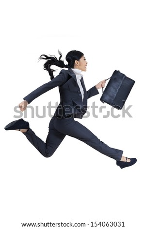 Young businesswoman with briefcase running for success isolated on white background