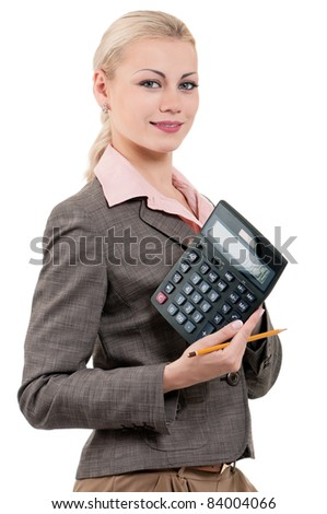 Young businesswoman with calculator - isolated on white background - stock photo