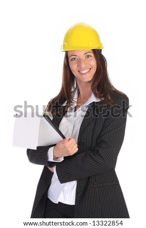 young businesswoman with documents on white background