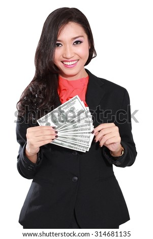 young businesswoman with dollars in her hands, isolated on white background
