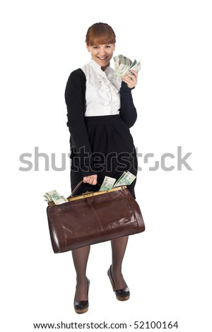 Young businesswoman with full cash bag - stock photo