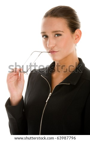 Young businesswoman with glasses - stock photo